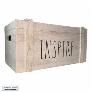 Rae Dunn INSPIRE Wooden Chest with Lid in White